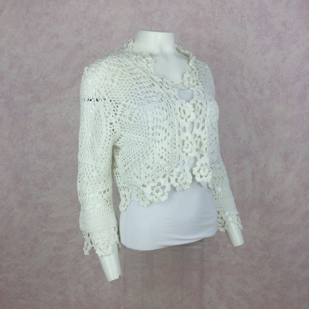 2000s THE WRIGHTS White Cotton Crochet Sweater, Side