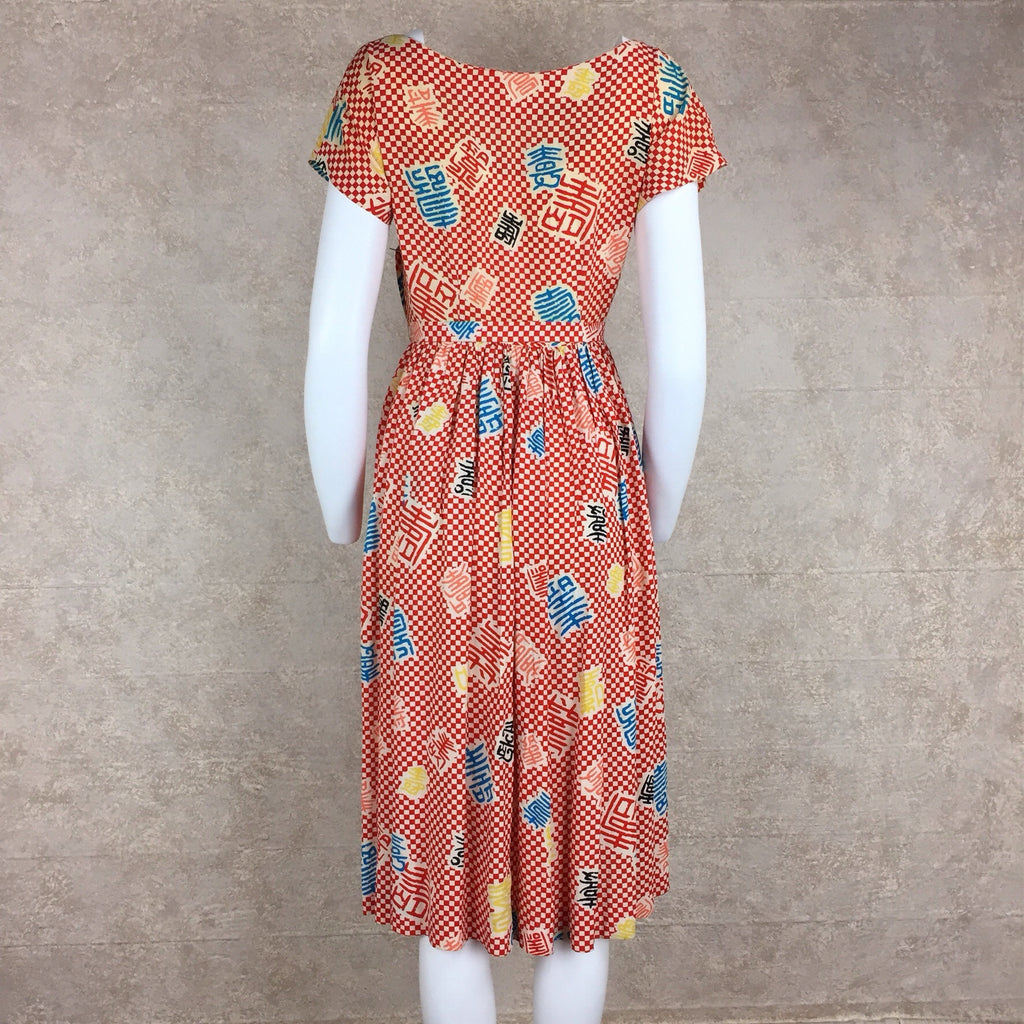 Vintage 40s Rayon Print Fit & Flair Dress, Back