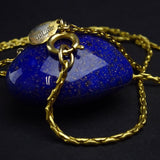 Vintage 70s DE LILLO Lapis-Colored Heart Pendant Necklace bv