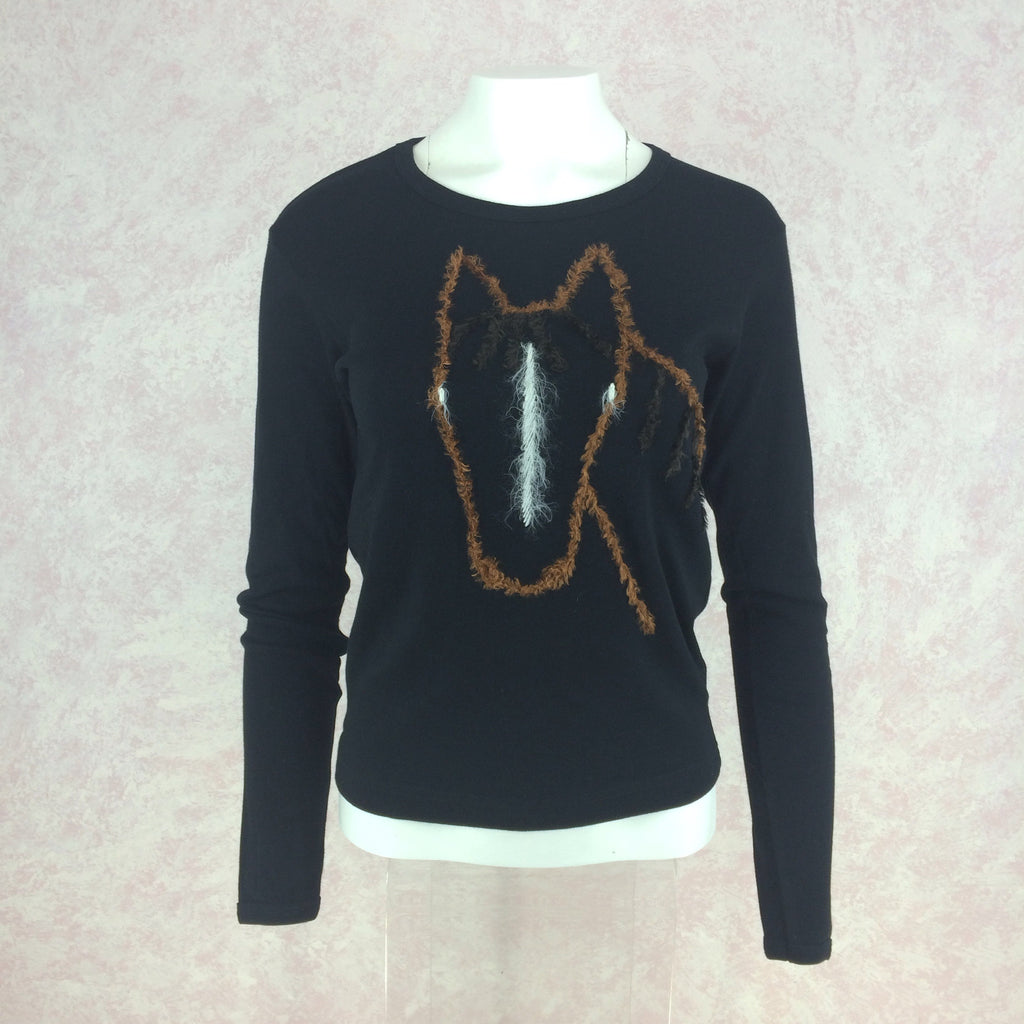 2000s SUSS Black Cotton Knit Top w/Embroidered Horse, Front