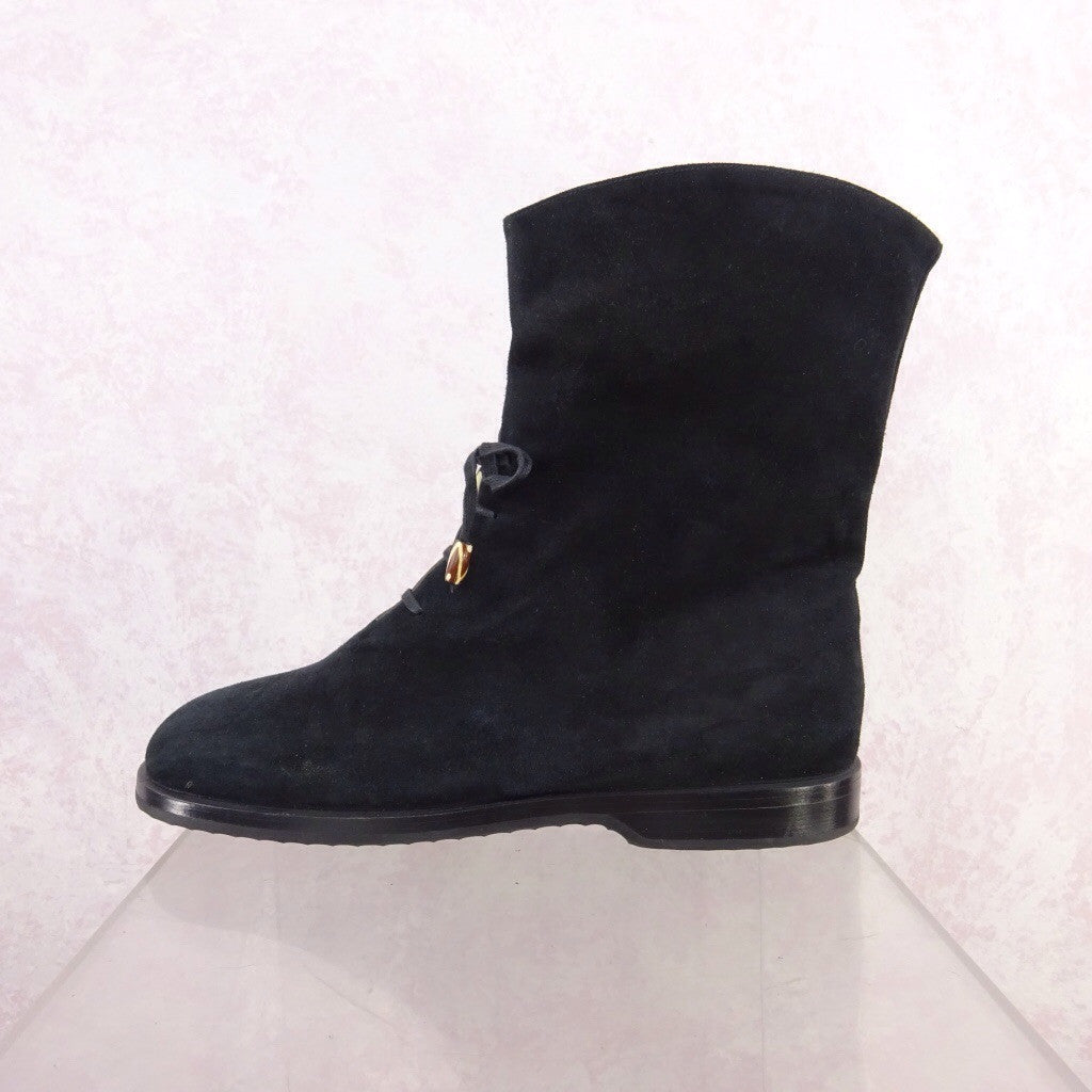 2000s Short Suede Boots w/Lace-Up qwe