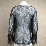 2000s Black Chantilly Lace Boho Blouse, Back