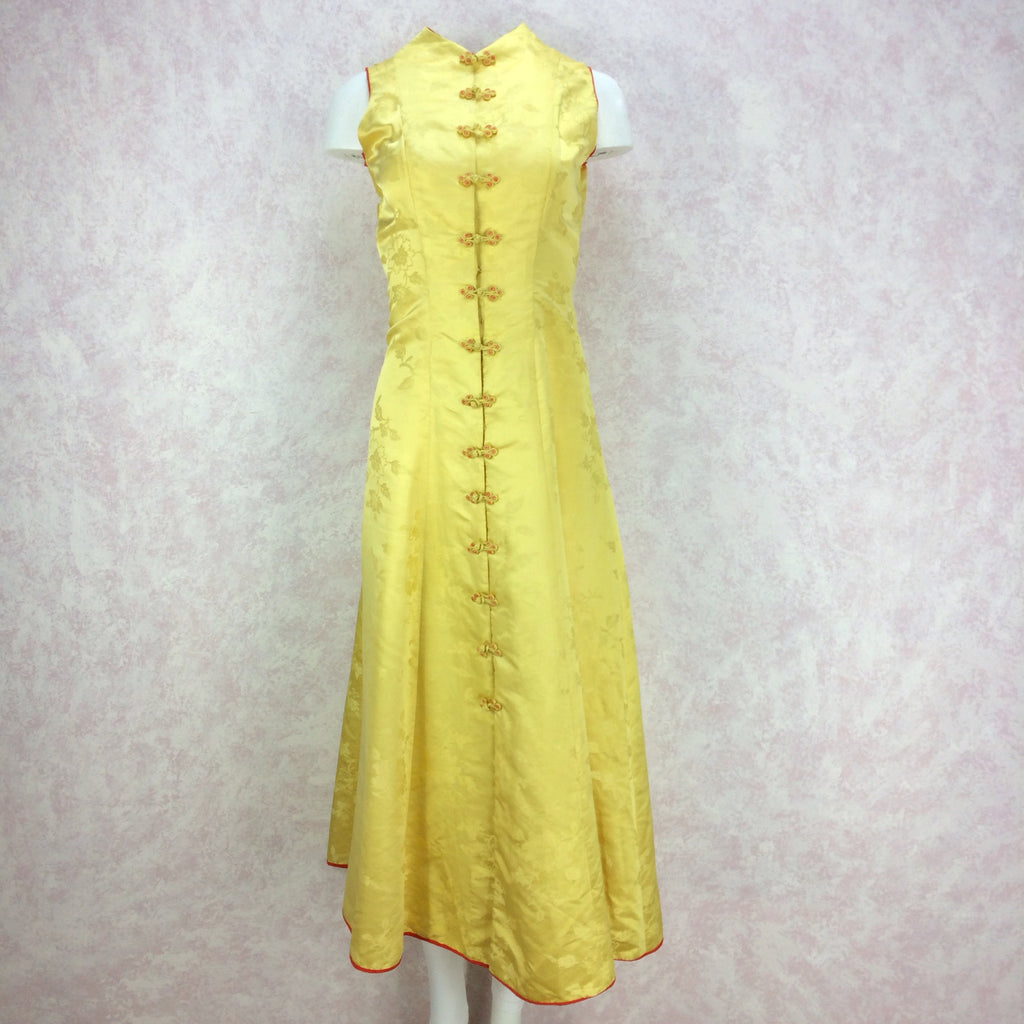 Vintage 50s Silk Chinese-Style Hostess Dress, Front