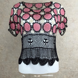 Vintage 70s Multi-Color Crochet Short Sleeve Top, Front