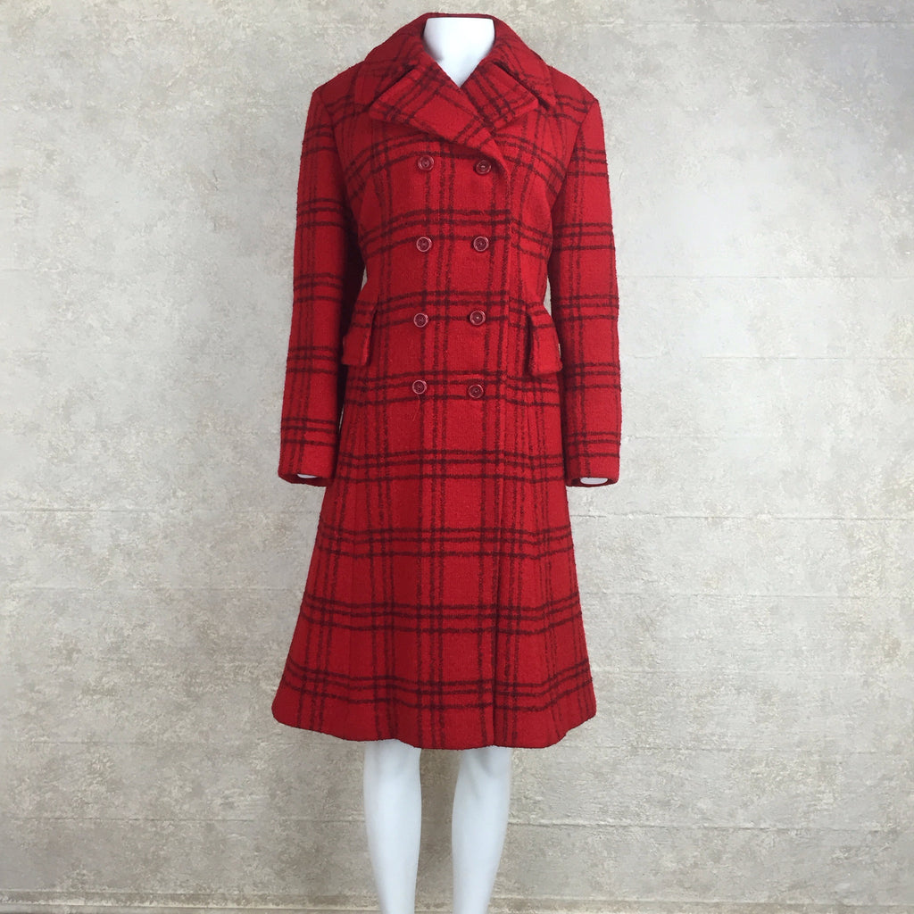 Vintage 70s Double-Breasted Check Wool Coat, front