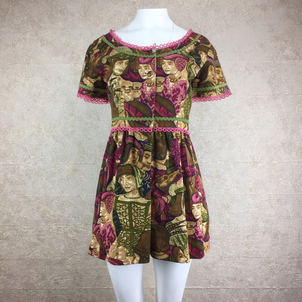 Vintage 60s Renaissance Print Linen Mini Dress, Front
