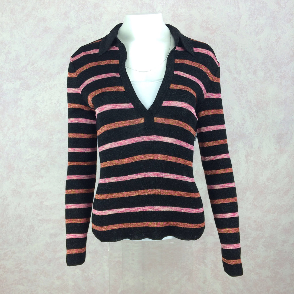 2000s Knit Striped Lurex V-Neck Pullover Sweater, Front