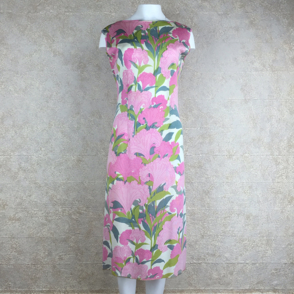 Vintage 60s Tropical Print Sheath Dress, front