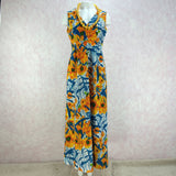 Vintage 70s Tropical Poppy Print Maxi Dress, Front
