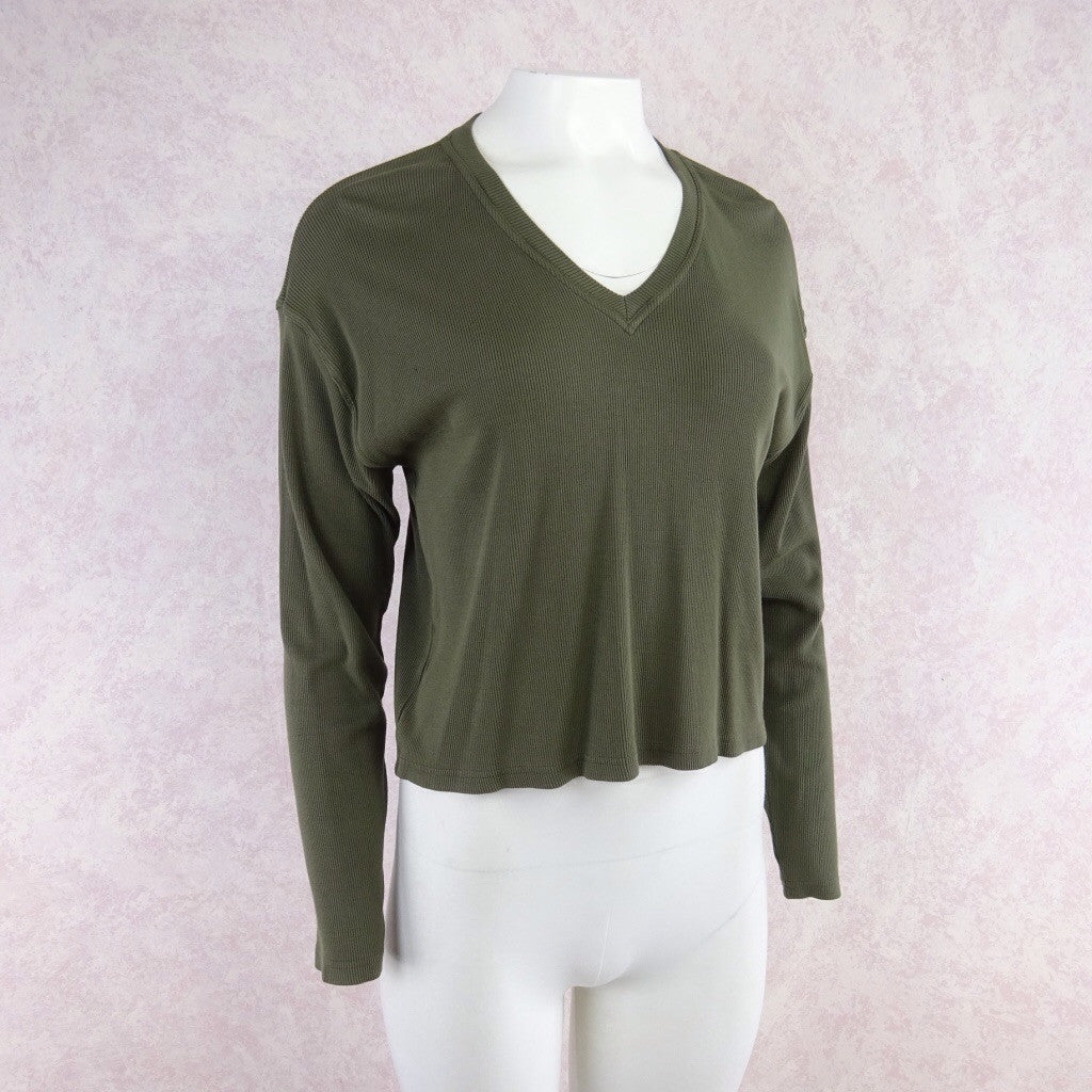2000s Ribbed Cotton Knit V-Neck Top vf