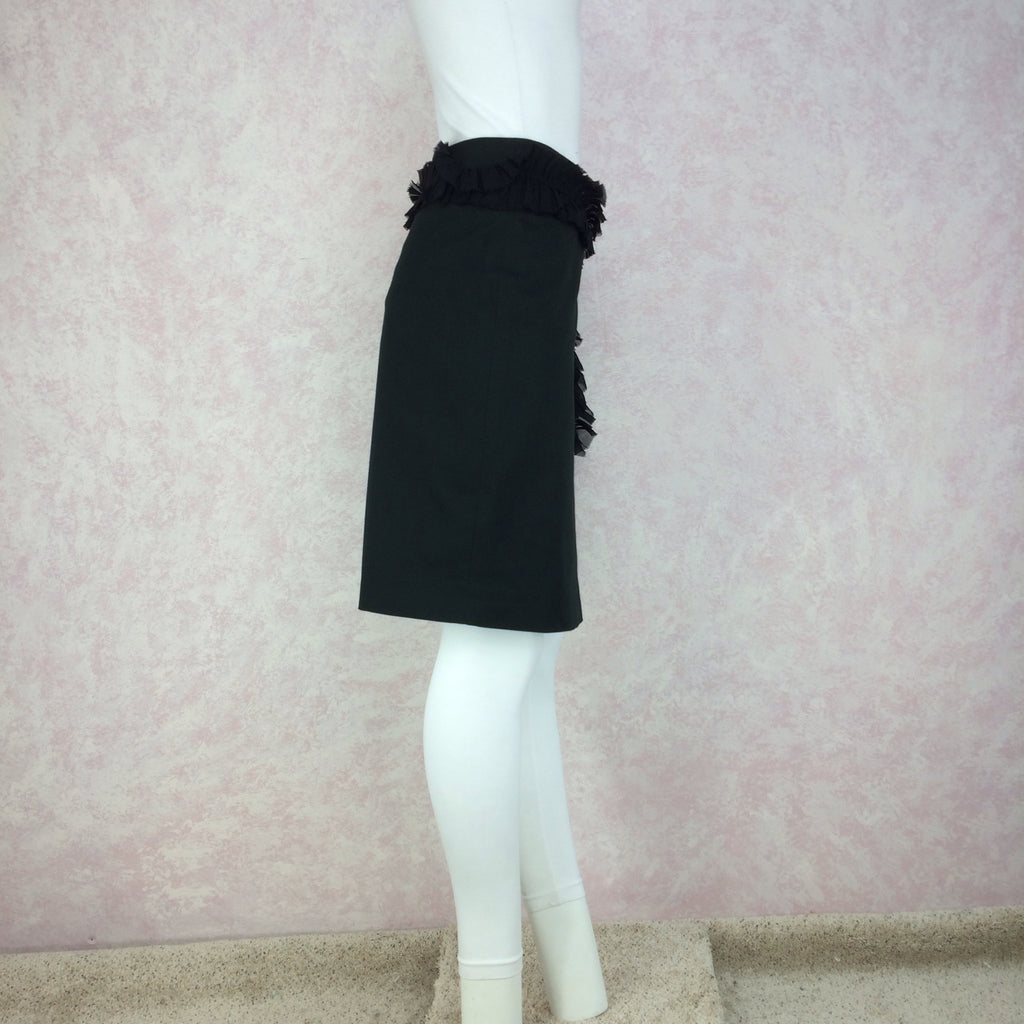 2000s CHLOE Silk Skirt w/Single Ruffle, Side 2