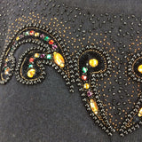 Vintage 80s Wool Beaded Pullover w/Draping, Detail