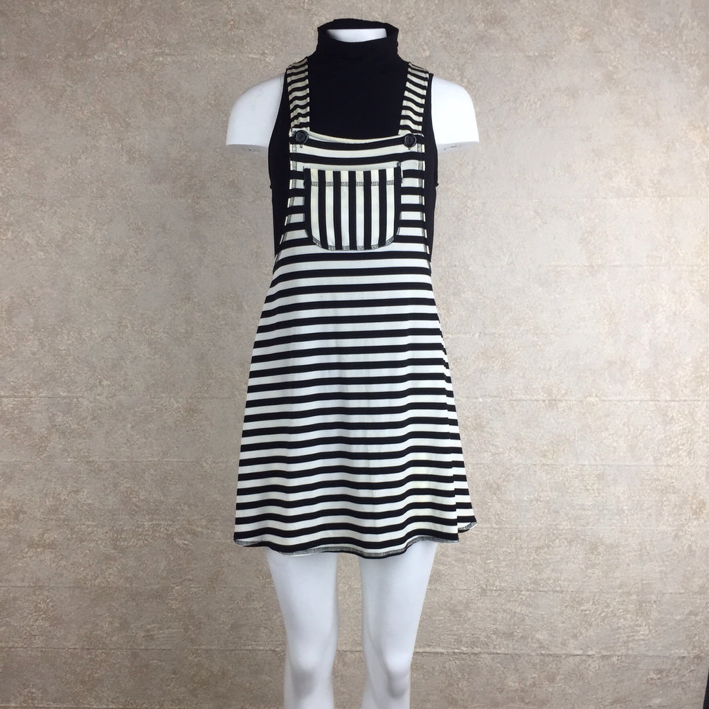 2000s Striped Cotton Knit Overall Dress, Front