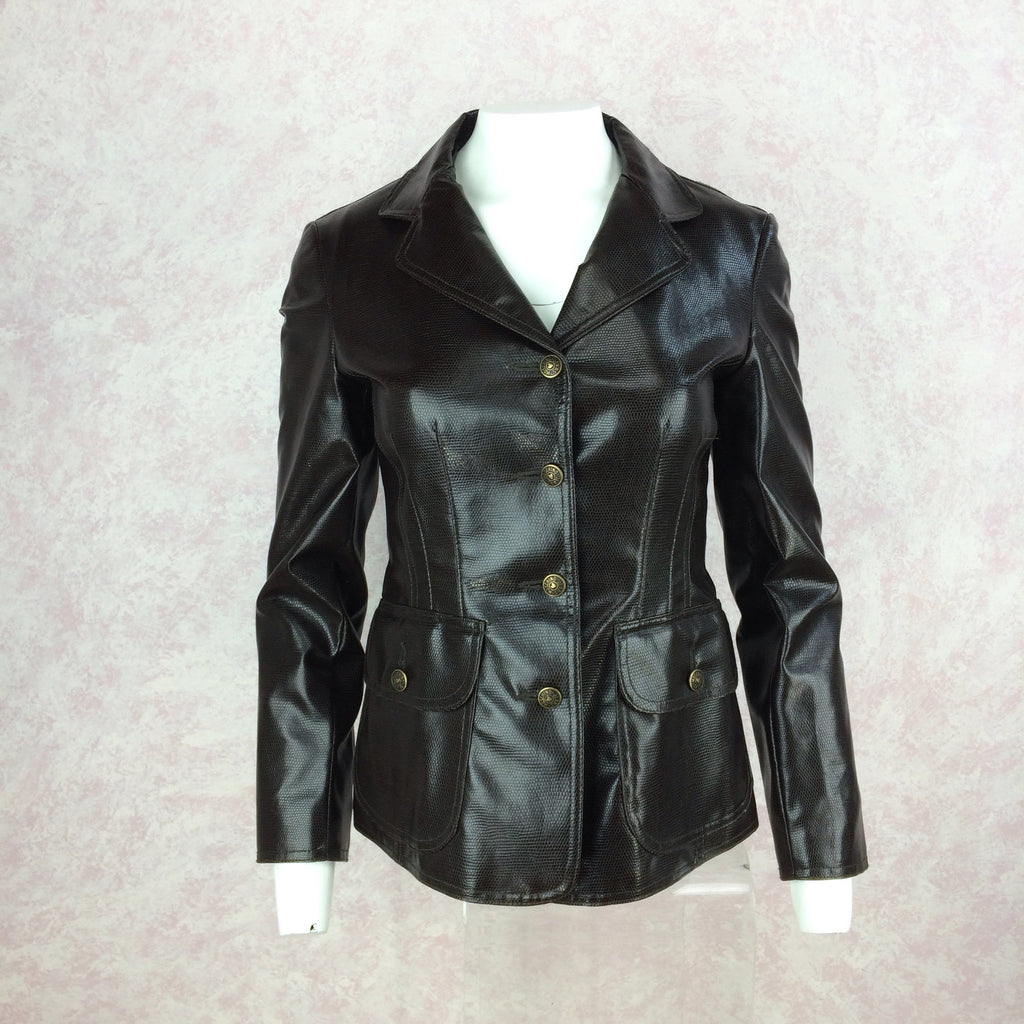 2000s MOSCHINO Jeans Pleather Blazer front