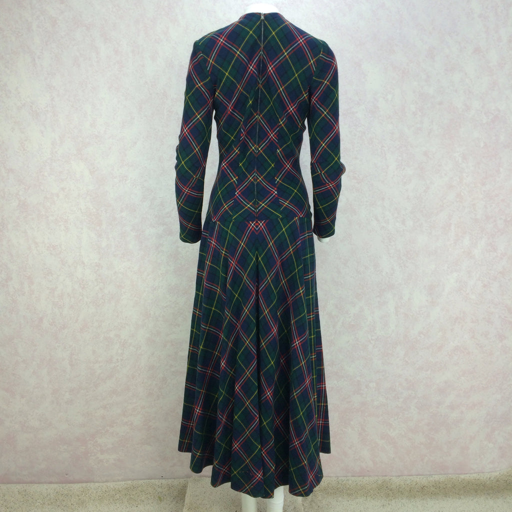 Vintage 40s Wool Plaid Dress w/Drop Waist, Full Length  Back