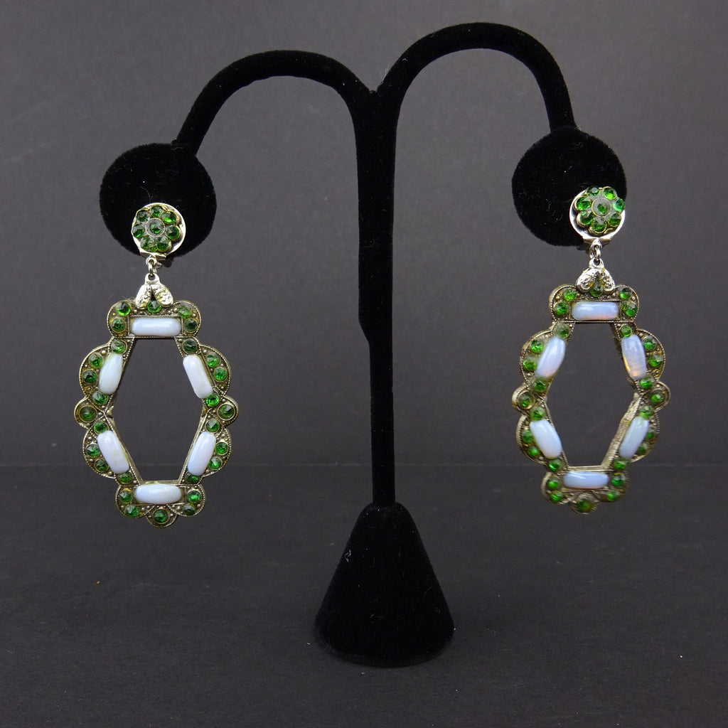 2000s Faux Opal & Emerald Pendant Drop Earrings
