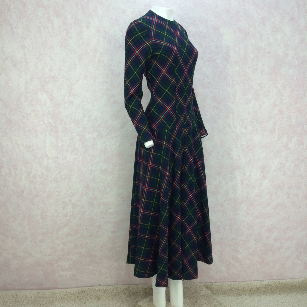 Vintage 40s Wool Plaid Dress w/Drop Waist, Full Length Side