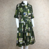 Vintage 60s Silk Asian Print Fit & Flair Shirt Dress, Side