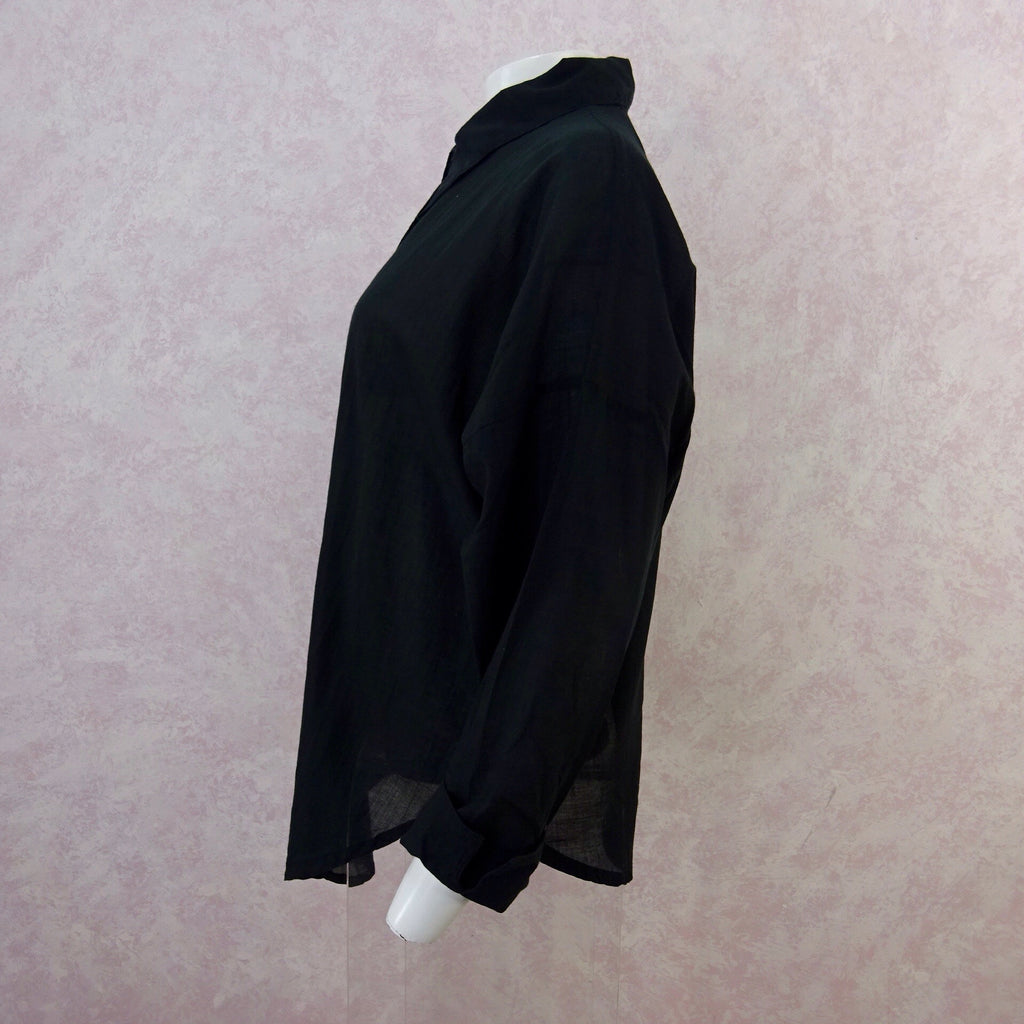 2000s Black Sheer Cotton Shirt, NOSs