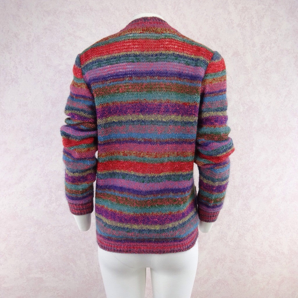 Vintage 90s MISSONI Multi-Color Stripe Bouclé Cardigan fff