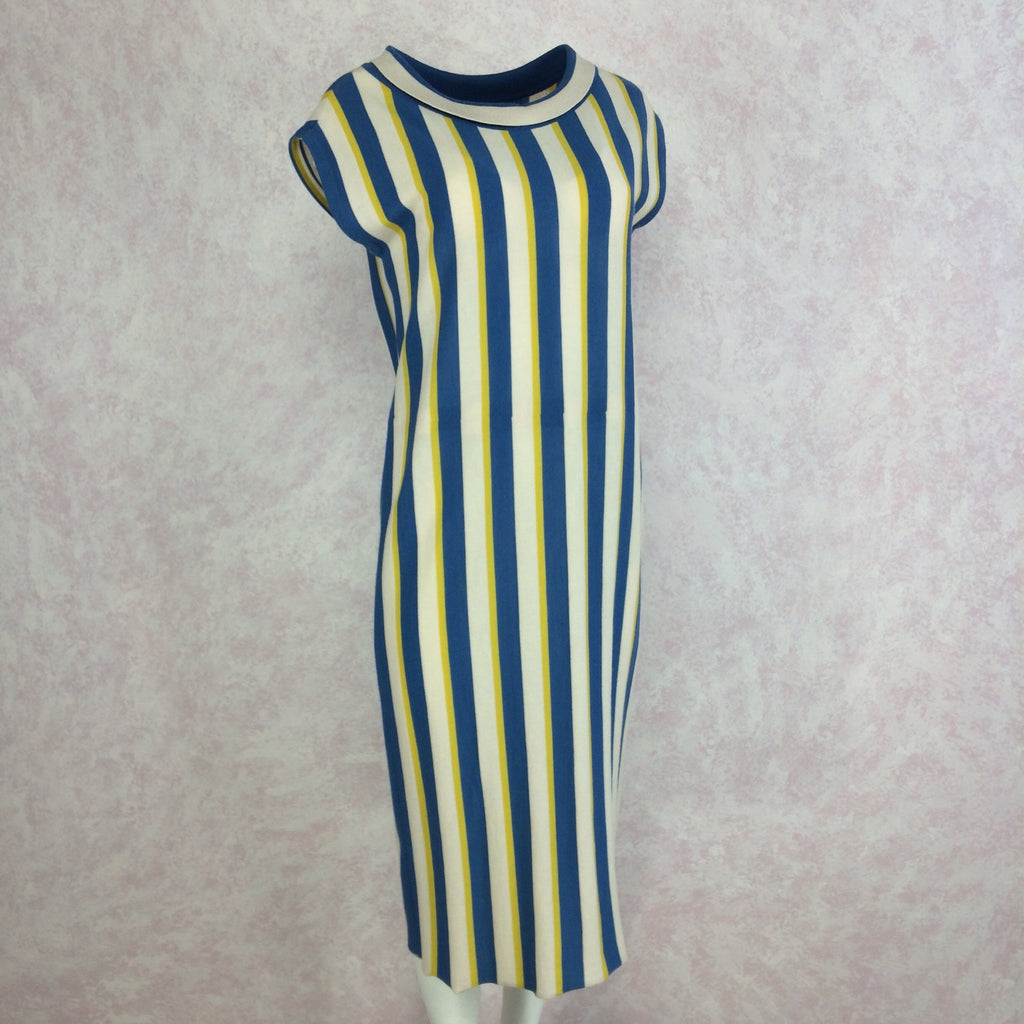 Vintage 60s Bold Striped Italian Wool Knit Dress, side
