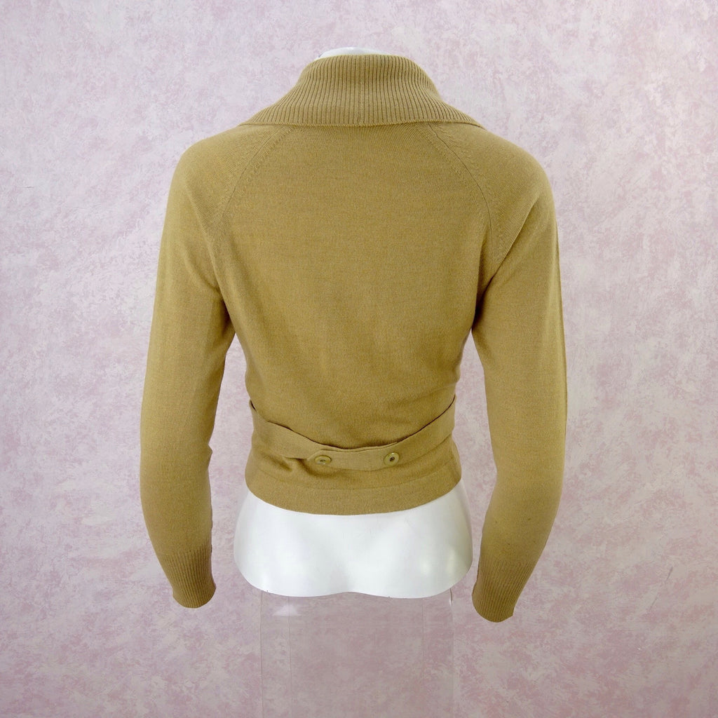 Vintage 60s Camel Double Breasted Sweater, NOS b