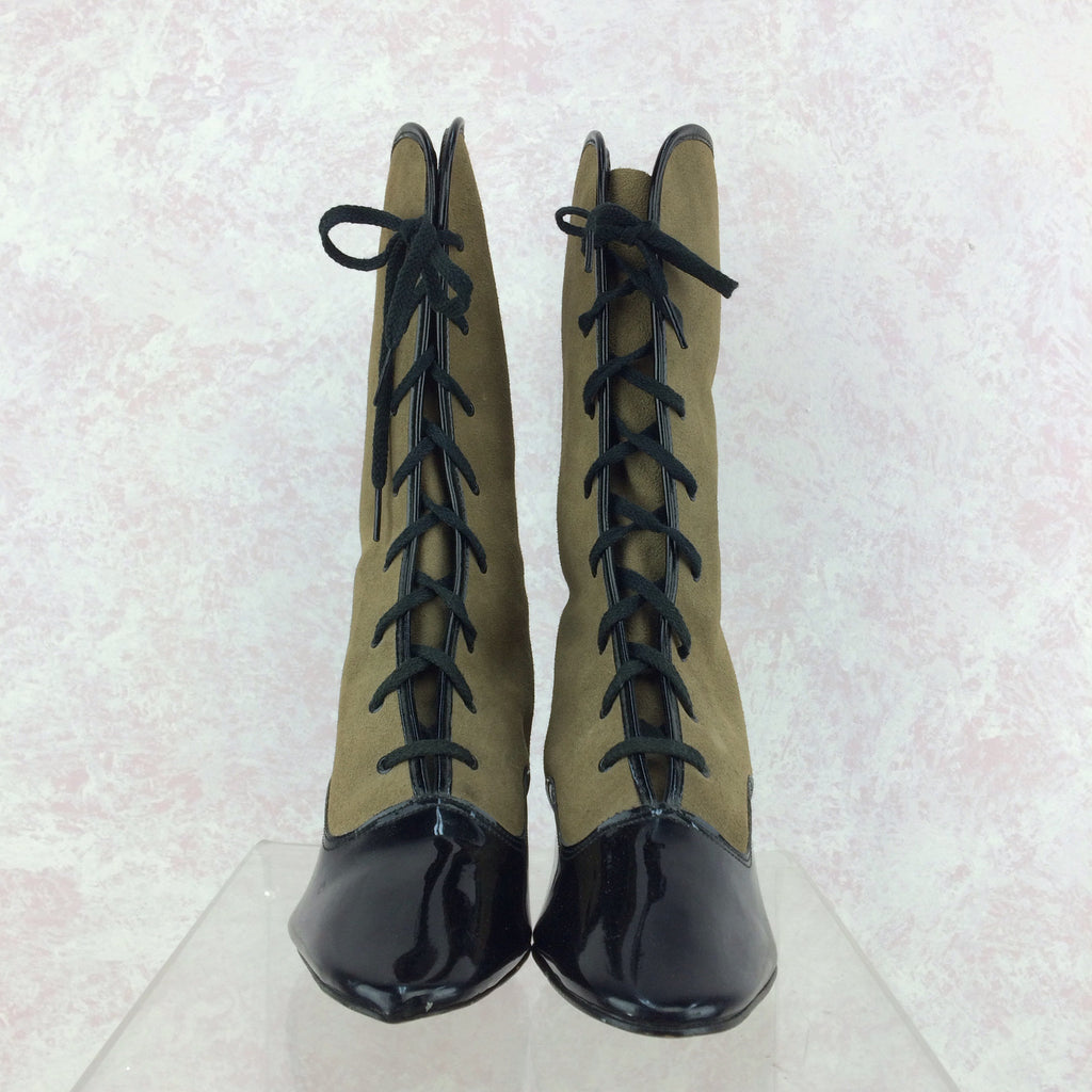 Vintage 70s Victorian-Style Lace-Up Boots, Front