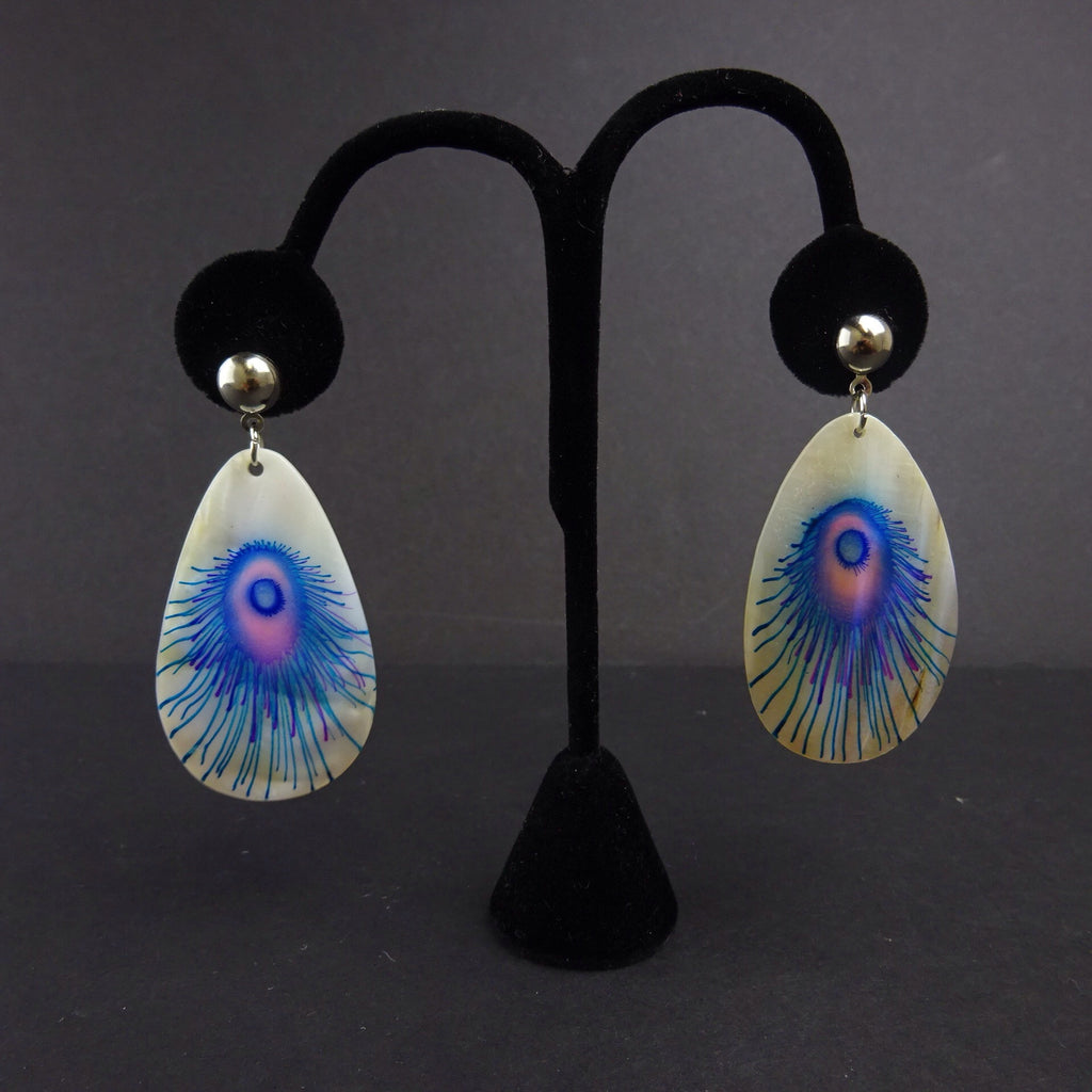 2000s Abalone Pierced Earrings w/Painted Peacock Feather
