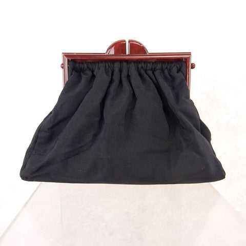 Vintage 40s Pleated Fabric Purse w/ Lucite Hardware