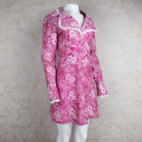 Vintage 70s Pink Polyester Floral Print Dress, side