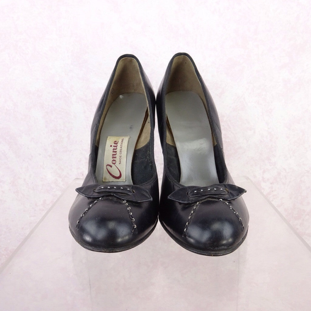 Vintage 50s Leather Pumps w/Buckle f