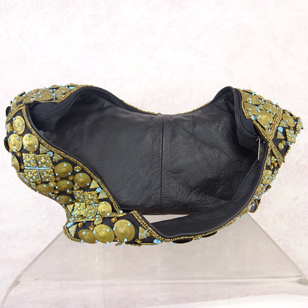 2000s Brass Disc and Turquoise Beaded Pouch Bagn