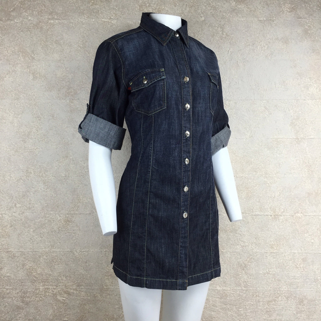 2000s Level 99 Denim Shirt Dress, Side