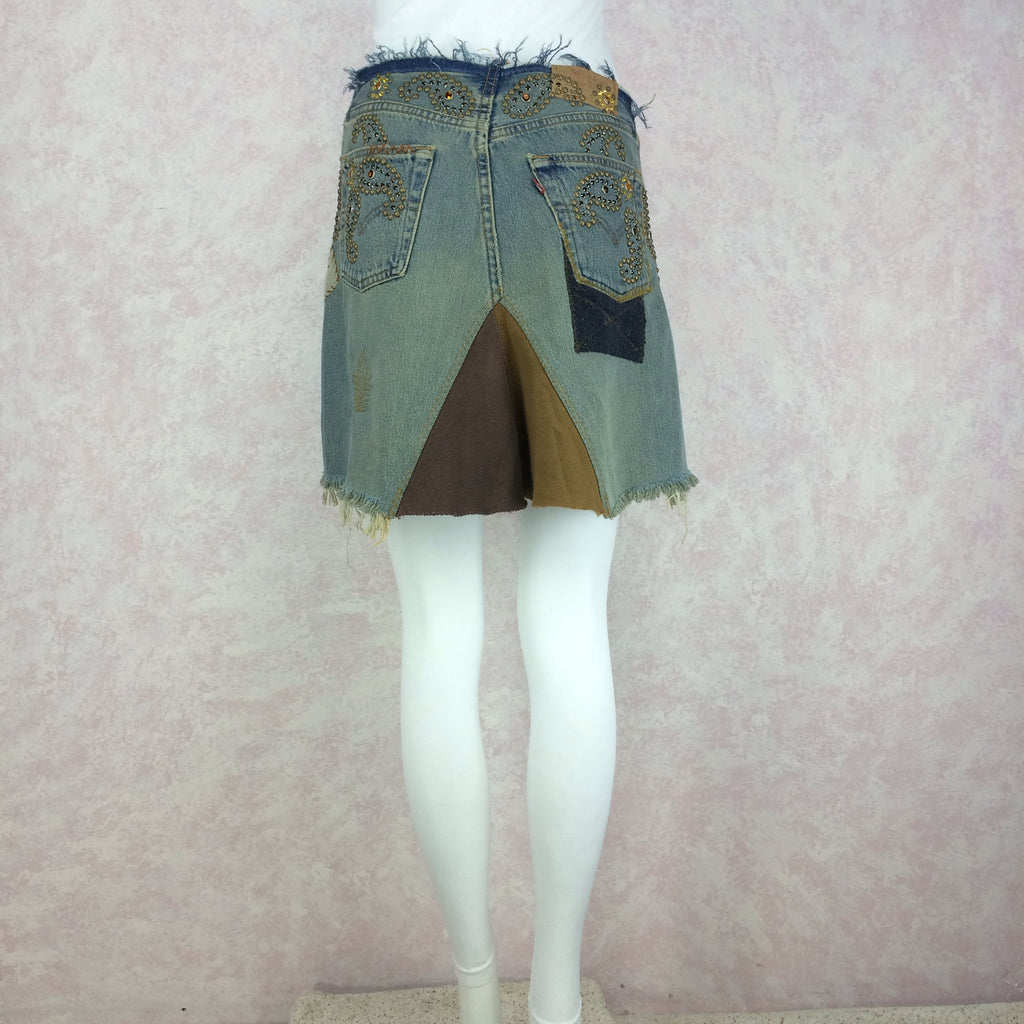 2000s Repurposed Denim Skirt w/Studs & Patches, Back