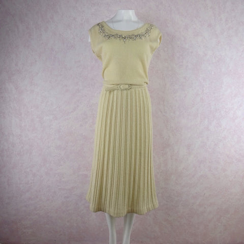 Vintage 60s Wool & Sequin Striped Dress
