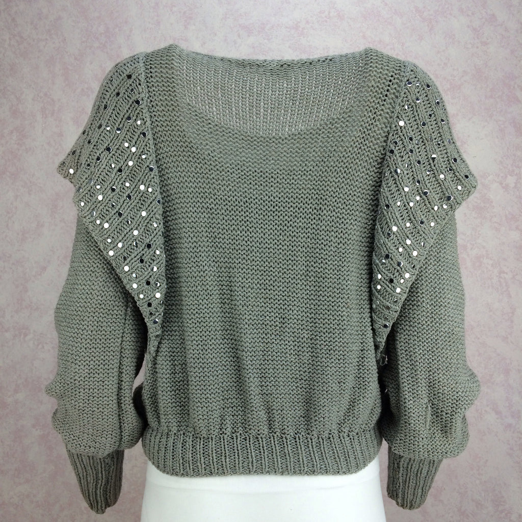 Vintage 80s Hand Knit Cotton Sweater w/Studs, Back