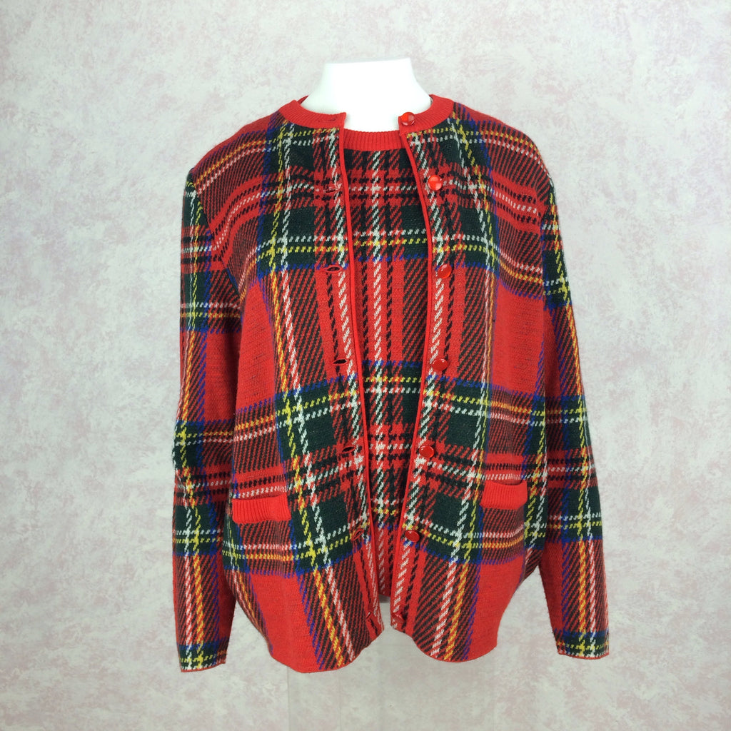 2000s BILL BLASS USA Red Plaid Twin Set, Front