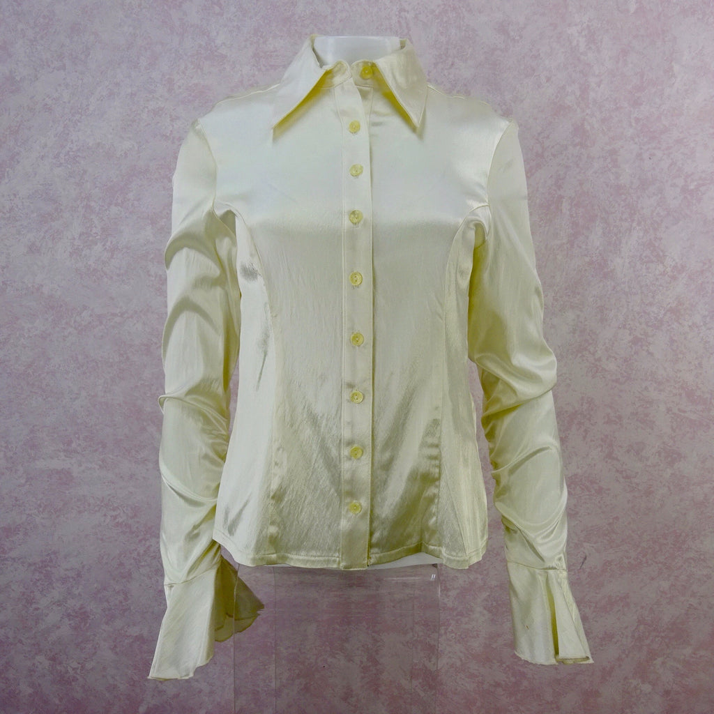 2000s Ivory Satin Shirt w/Extra-Long Cuffed Sleeves, NWT front