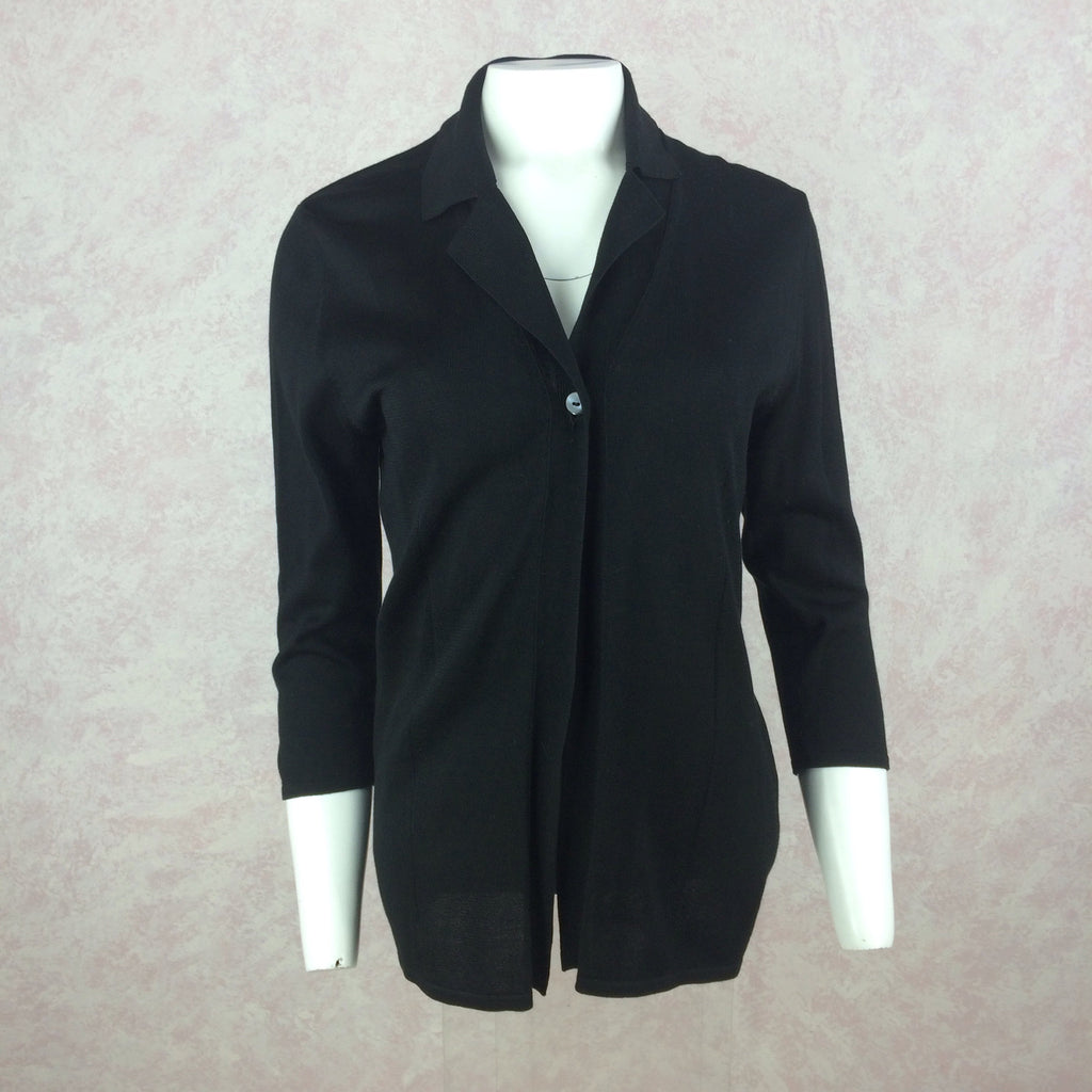 2000s BARNEYS Black Silk Cardigan Sweater Jacket, Front