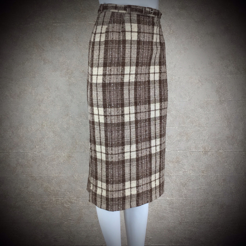 Vintage 50s Plaid Tweed Skirt w/Belt detail 2