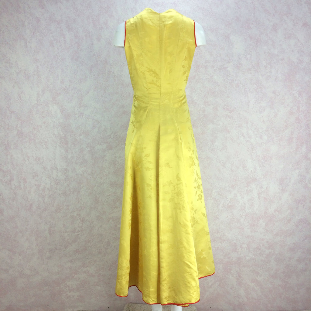 Vintage 50s Silk Chinese-Style Hostess Dress, Back