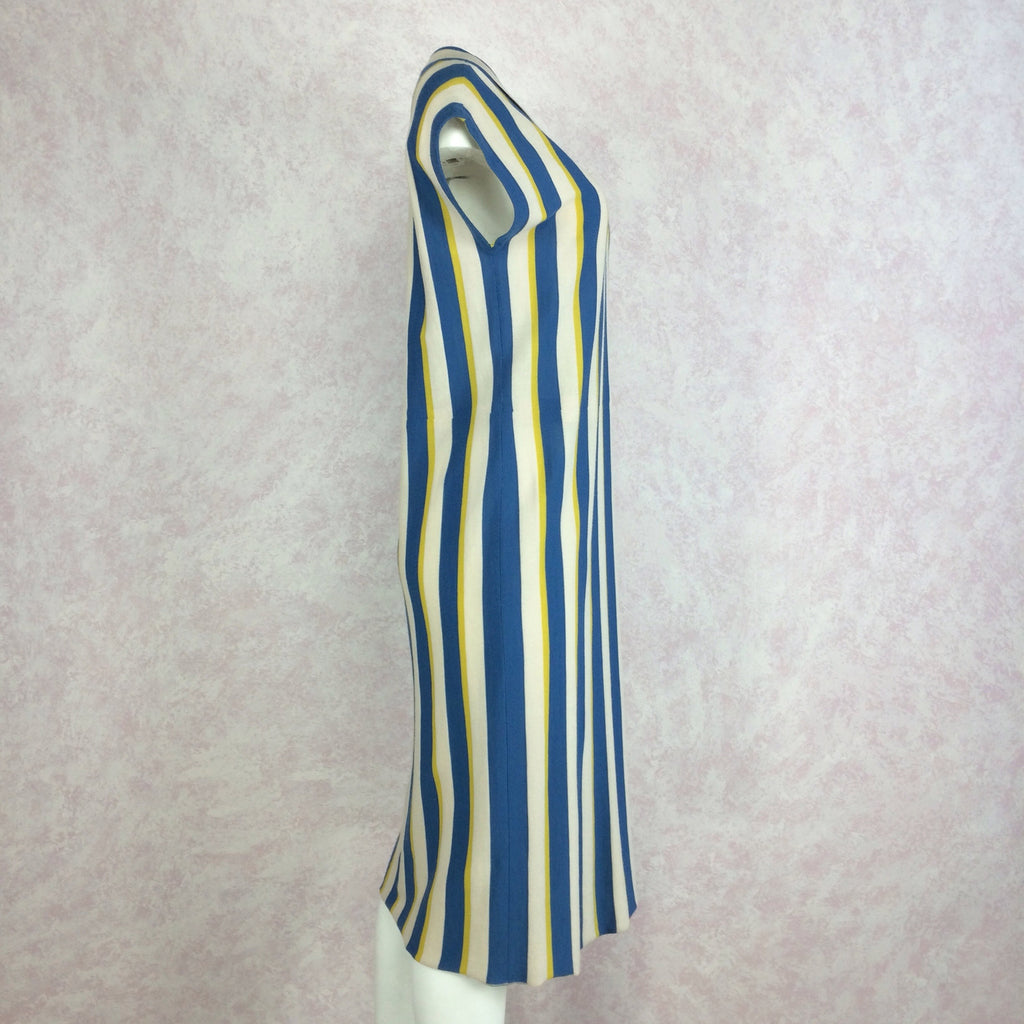 Vintage 60s Bold Striped Italian Wool Knit Dress, side 2
