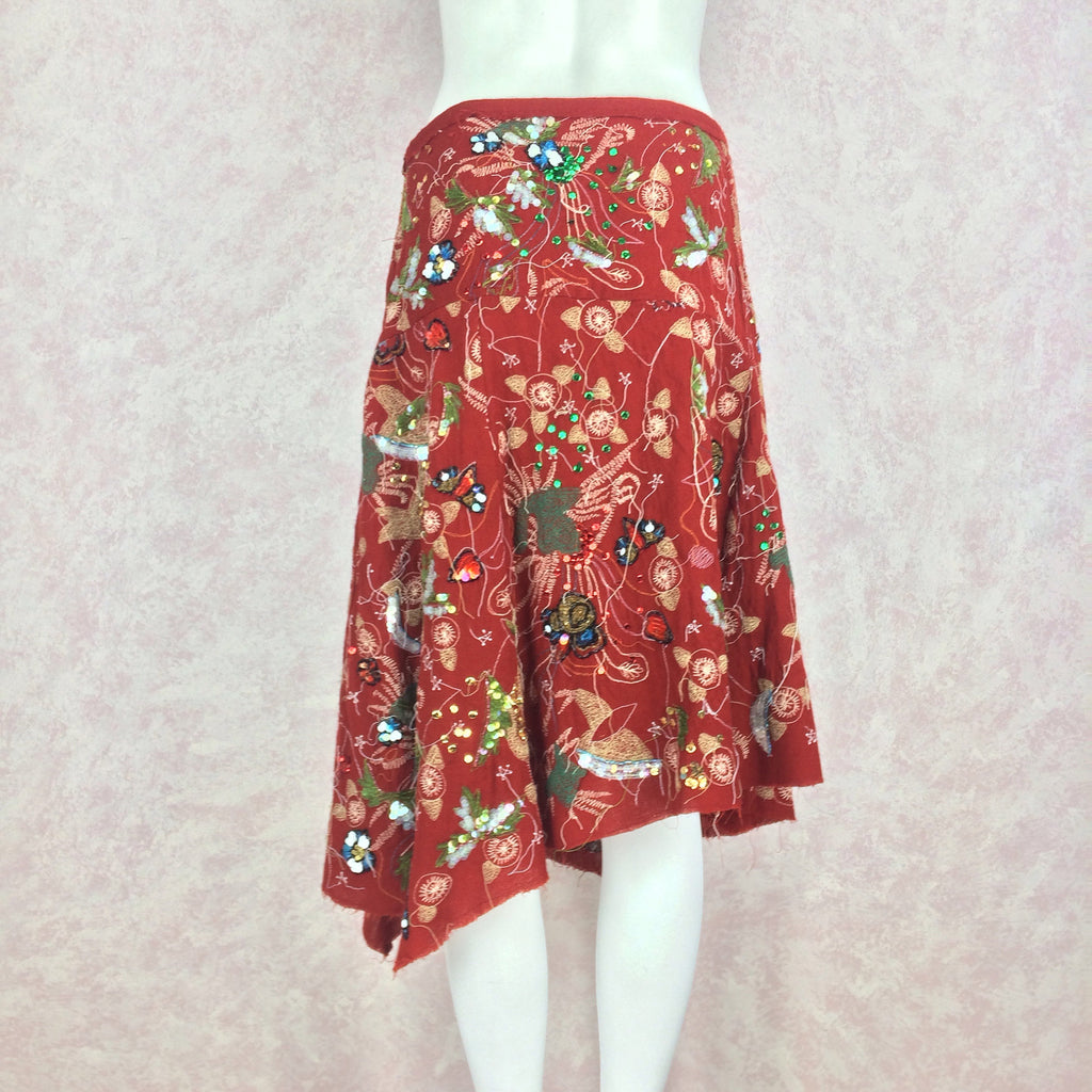 2000s Diagonal Hem Embroidered Skirt w/Sequins, Back