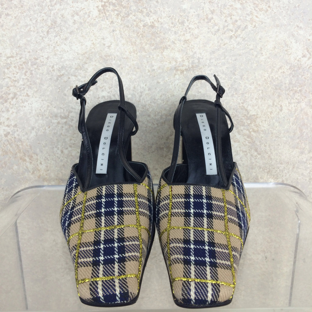 Vintage 90s DIEGO DOLCINI Plaid Slingback Shoes, Front