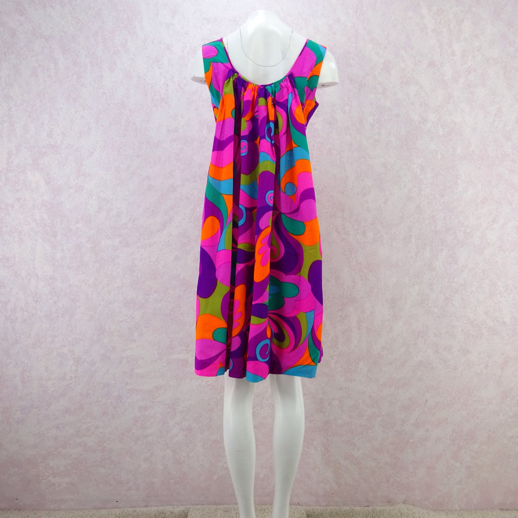 Vintage 60s Bold Op-Art Patio Sheath Dress, Pink bg