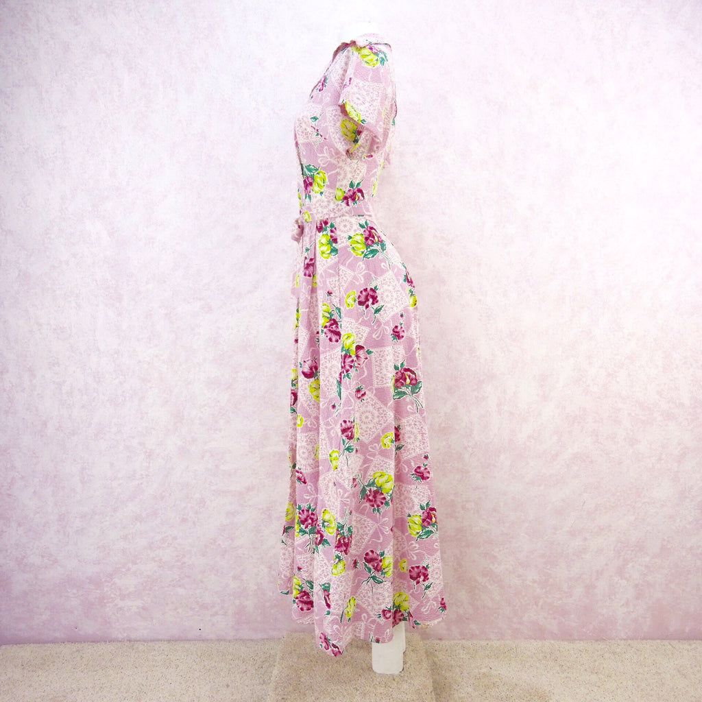 Vintage 40s JULIANA Floral Seersucker Dress, S