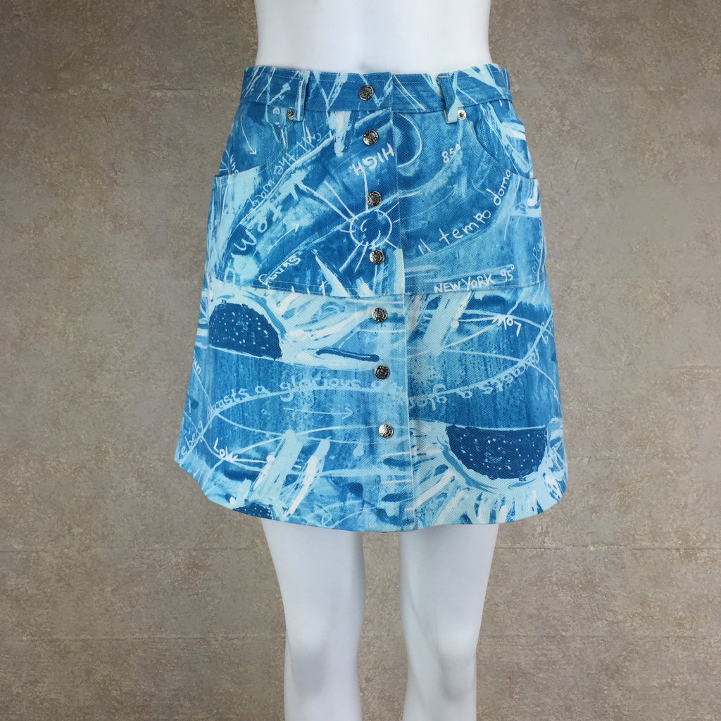 Vintage 90s ICEBERG Weather Print Denim Skirt, Front