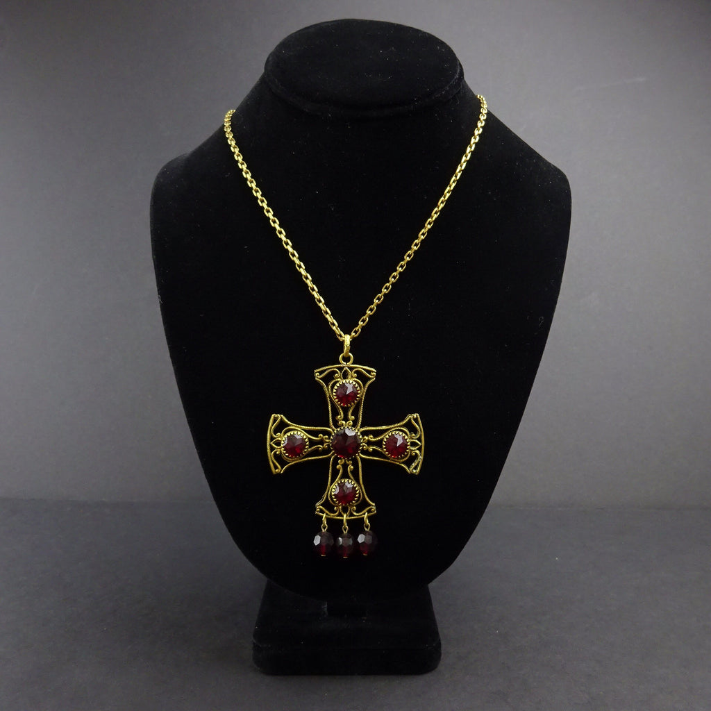 Vintage 60s Cross Pendant Necklace w/Red AB Crystals