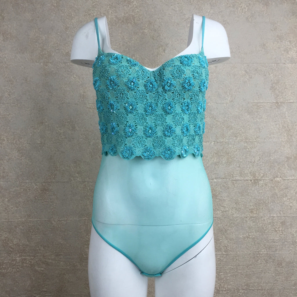 2000s Turquoise Beaded Bodysuit Camisole, Front