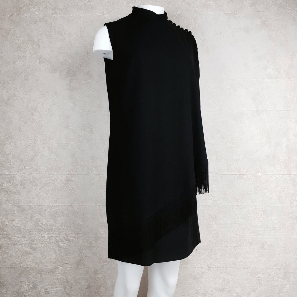 Vintage 60s Shift Dress w/Diagonal Fringed Panel, Side